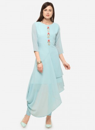 Sky Blue Georgette  Gown