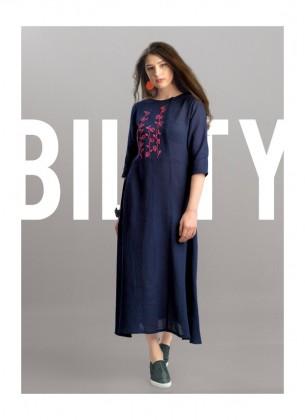 Navy Blue Cotton Jute Gown
