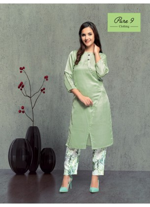 Green Ployester Kurti with Pant
