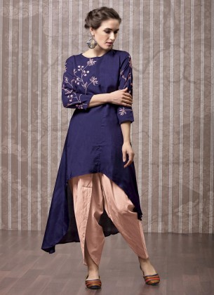 Navy Blue Viscose Kurti with Dhoti