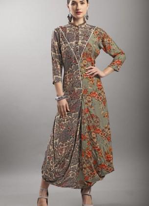 Brown Viscose  Designer Gown