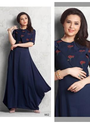Navy Blue Designer Gown