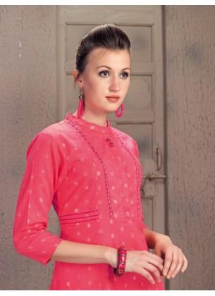 Handwork Pink Cotton Kurti