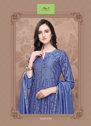 Embroidered Persian Blue Chanderi Kurta with Pant & Dupatta