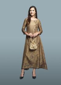 Brown Tussar Silk kurti