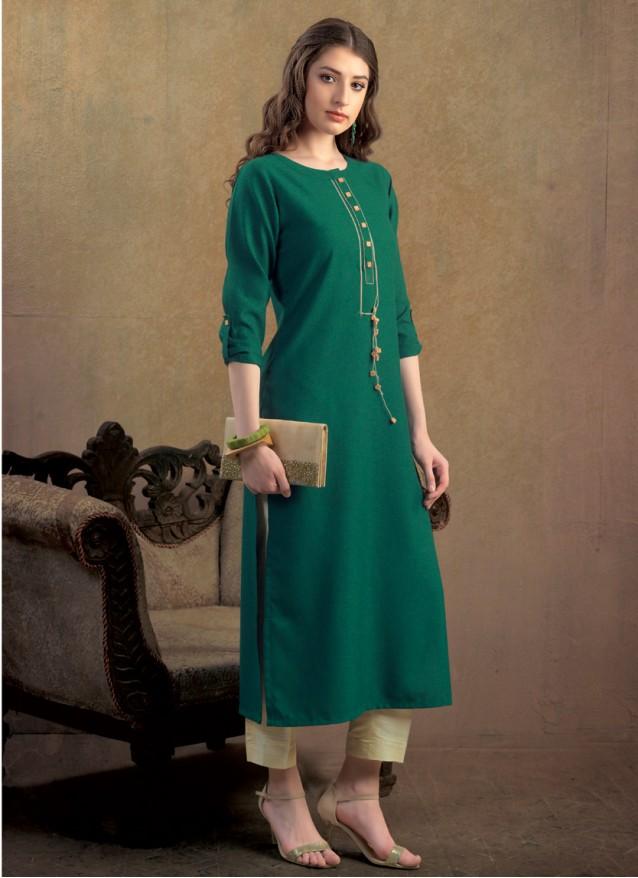 Green Polyster kurti