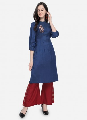 Blue-Red Viscose Silk kurti