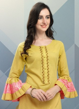 Embroidered Greenish Yellow Cotton-Polyster Kurta with Plazoo