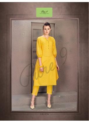Handwork Yellow Cotton Kurti